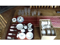 Child's China Tea Set. Cups, Saucers, Plates, Teapot, Sugar bowl, Jug, Cutlery, Glasses. Price Drop