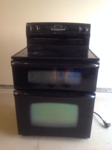 Black double electric oven