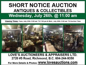 LARGE ANTIQUE & COLLECTIBLES SHORT NOTICE AUCTION - WED. JULY 26