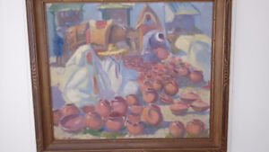 1930's oil painting Tangiers market scene