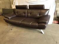 Brown leather suite 3 seater satee and chair