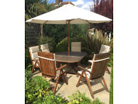 Solid Teak Garden Table & 6 Adjustable Chairs With Matching Cushions & Parasol