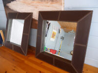 MIRRORS - LARGE PAIR OF MIRRORS IN BROWN LEATHERETTE