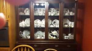 Older Walnut Wood China Cabinet  Just The Cabinet Not China