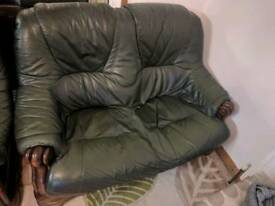 Two Seater Leather and Hardwood Sofa (Dark Green)
