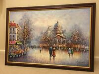 Gorgeous framed oil painting of French street scene & church