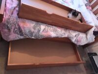 2 x Solid Wood Under Bed Storage Drawers