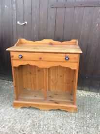 Pine hall console table cupboard