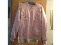 Ladies reversible embroidered pink bomber jacket size16