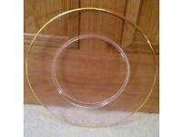 *New Italian Large Clear Glass Cake Plate: Frosted Design & Gold Rim: Wedding/Cakes / Cook/ Cookware