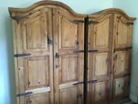 Segusino Mexican Pine Bedroom Set. 2 Wardrobes, Large Mirror, Bedside Cabinet And Set Of Draws
