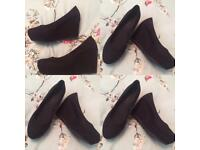 Ladies Brand New Black Suede Wedged High Heel Shoes UK Size 4 Euro 37 Collection Only £5