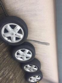 Renault alloy wheels with good condition tyres.