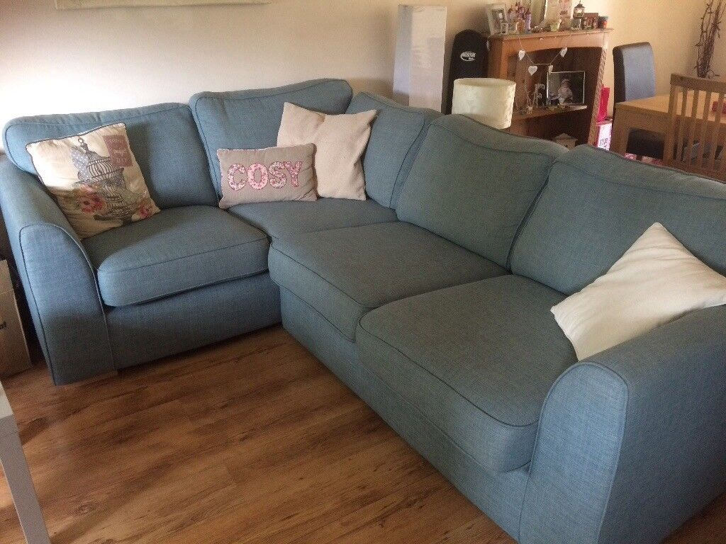 Dfs Right Handed Corner Sofa In Sky Blue Less Than A Year Old