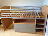 High sleeper single bed with 2 drawers and 4 shelves underneath.