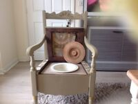 ANTIQUE COMMODE CHAIR ,BEAUTIFUL ,ORIGINAL CHINA POT , WOULD LOOK SMART &LOVELY ANYWHERE .