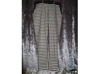 River Island, Black, White and Grey Checked Trousers, Size UK 8