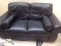 2 seater black leather