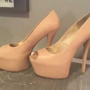 BEBE peep toe stiletto heels. Sz 9. Worn once!!
