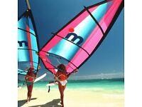 Windsurf board, fins, zipped bag