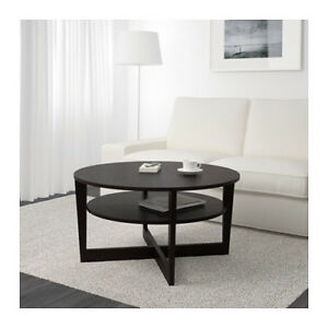 Two tier black coffee table
