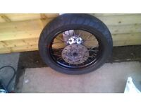 rear super moto wheel and tyre