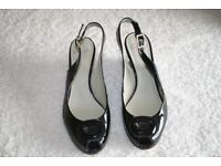 Black Patent Wedge Shoes - PRICE REDUCED.