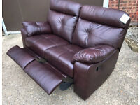 Brand New Cameron 2 Seater Recliner Leather Sofa - Chocolate