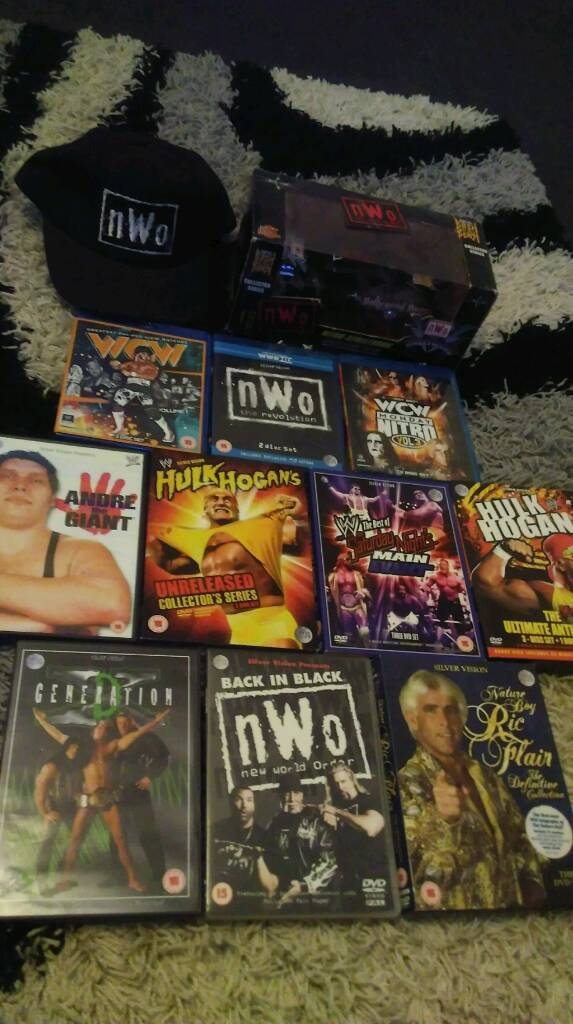 Nwo wcw wwe blu rays and dvds and nitro car and cap