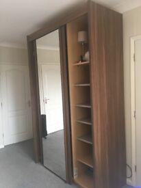 Excelent condition sliding wardrobe (walnut brown)Double mirror