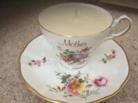 Crown derby cup with candle gift for mum