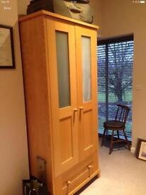 QUALITY WARDROBE - Shaker Style - Beech - Frosted Glass Panelled Doors - Large Drawer