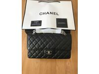 CHANEL TIMELESS CLASSIC HANDBAG IN BLACK QUILTED LEATHER 100% AUTHENTIC