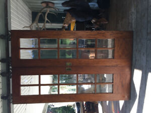 Antique oak beveled glass track sliding doors rare