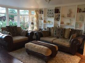 Henly sofa and cuddle chair, foot stool, scs