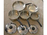 A lovely set of Judge stainless steel pots with lids and a stainless steel frying pan.
