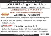 Job Fairs for Tim Hortons and Value Village