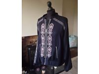 Ladies navy bomber jacket with embroidered detail - Falmer - size 18