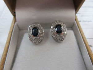 **CORUNDUM** Ladies 18k White Gold Diamond Sapphire Earrings