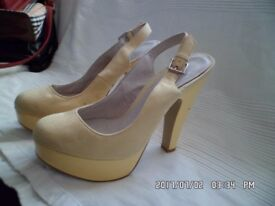 FAITH ladies size 5 lemon suede slingback platform heels