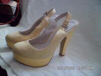 FAITH ladies size 5 lemon suede slingback platform heels