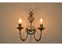 Pair of Madagascar Wall Lights Antique Brass bought from homebase 2 mths old £28. each £25 the pair
