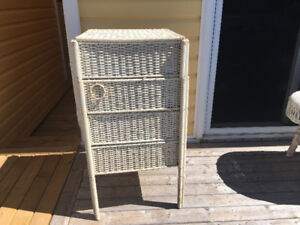 Antique Wicker stand with drawers