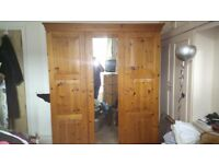 Pine wardrobe and dressing table