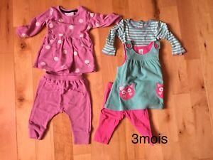 Lot vêtements fille 3 mois et 0-3 mois (52 morceaux)
