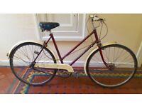 Vintage Ladies' Bicycle. 1950s Red Raleigh 'Lenton Sports' Bike.