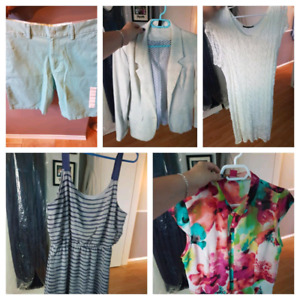 Variety of XL women's clothing and size 33 men's shorts