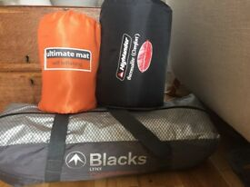 Blacks two man tent and 2 x self inflating roll mats