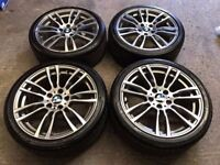 4 x GENUINE 19'' BMW F30 403M ALLOY WHEELS AND TYRES PCD 5x120 STAGGERED FITMENT 320D 335D 3 SERIES