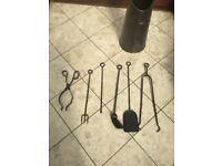 Coal scuttle, fireplace equipment, stove brush, tongs, poker and shovel